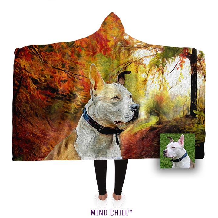 "Fall Sunset Custom Hooded Sherpa Pet Portrait Blanket (80"" x 60"") - Mind Chill Pet Blankets"
