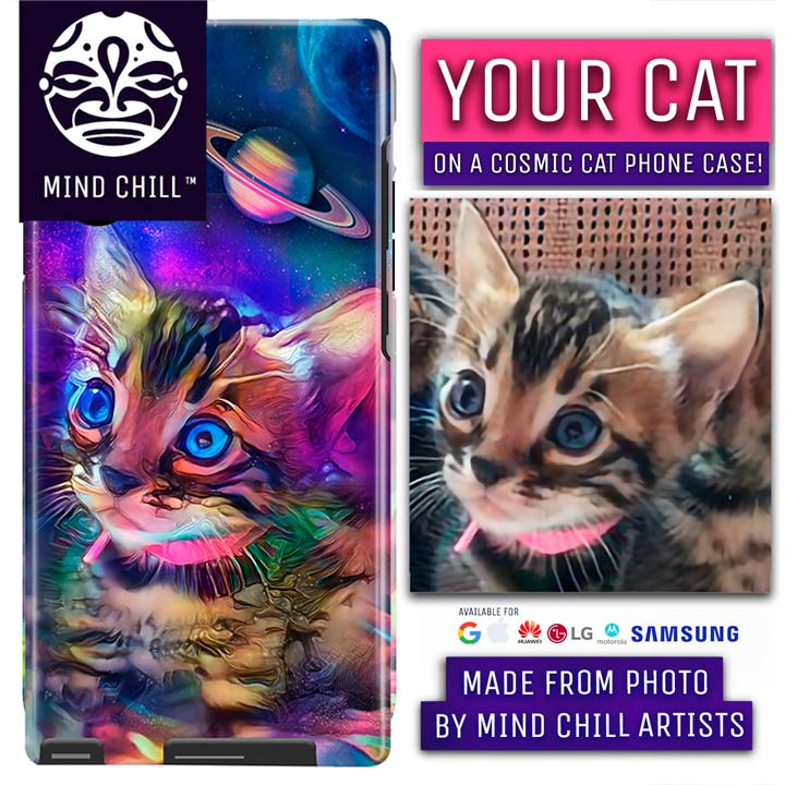 Custom Cosmic Cat Portrait Phone Case | Unique Cat Gifts For Cat Lovers