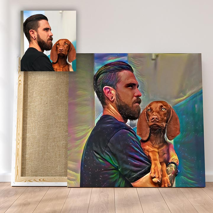 Best Buds! Custom Pet Portrait Canvas - Mind Chill Style