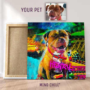Mind Chill Graffiti Paint Style Custom Canvas Pet Portrait - Featuring Your Dog!
