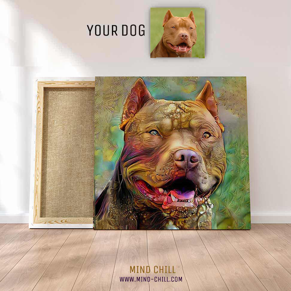 custom pet portrait canvas art Mind Chill pet portrait - psychedelic  dog style