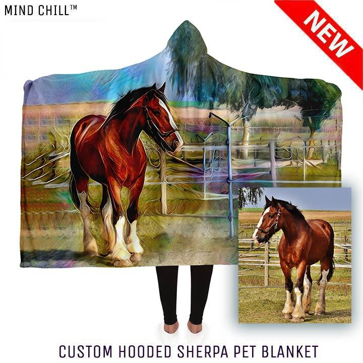 "Custom Hooded Sherpa Horse Portrait Mind Chill Blankets (80"" x 60"")"