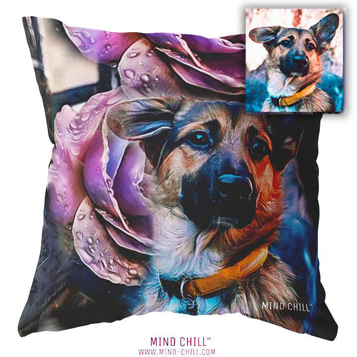 Purple Rose Tattoo Custom Pet Pillow - Mind Chill Custom Pet Pillows