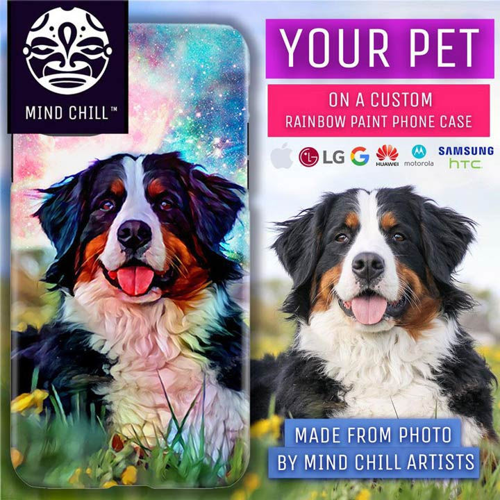 Custom Rainbow Paint Pet Portrait Phone Case | By Mind Chill Artists