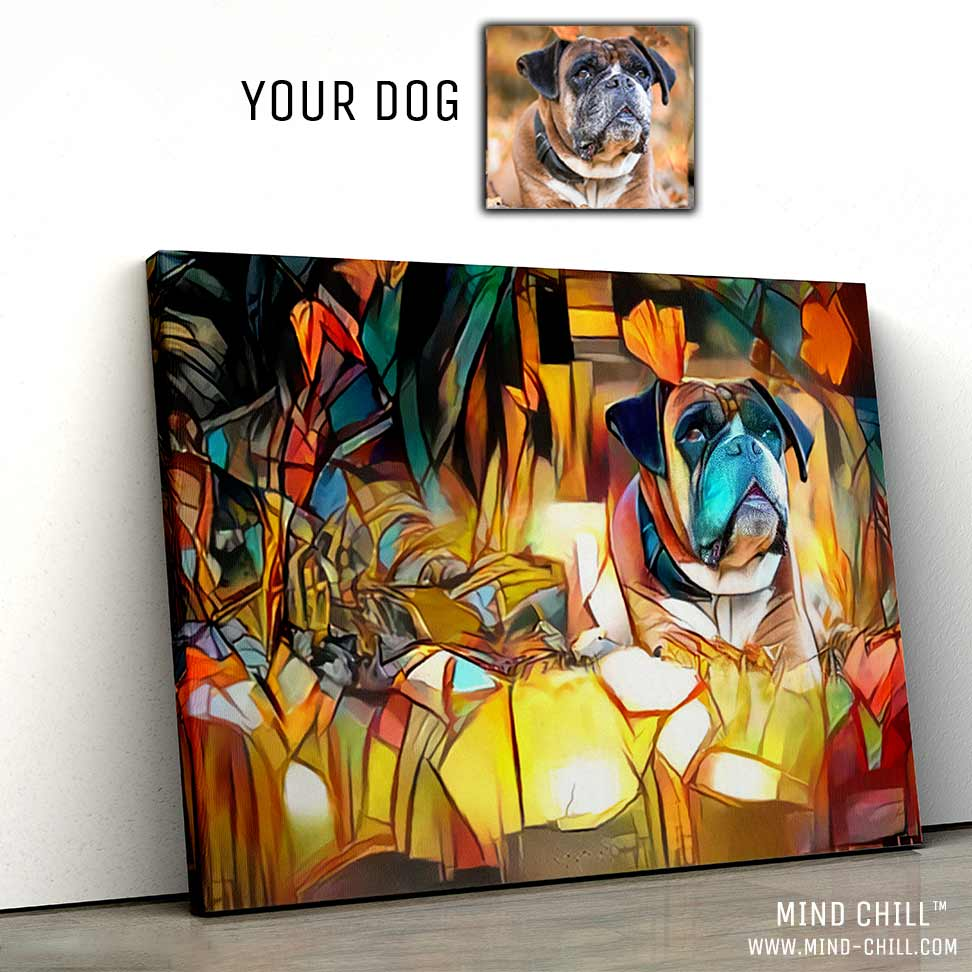 custom pet portrait stained glass paint style canvas art Mind Chill dog portrait - landscape colorful dog portrait