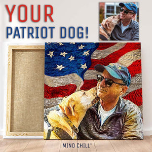 patriot dad and dog portrait gift