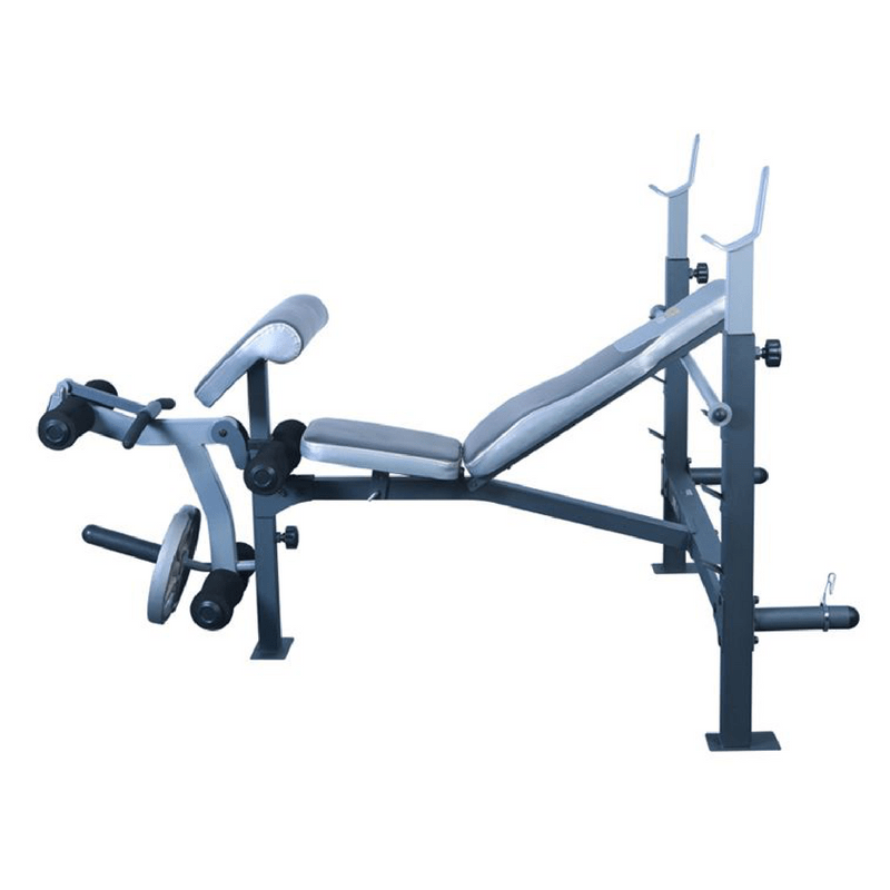 JX-191 Light Commercial Olympic Bench Press with Fully Adjustable Pad, Leg Extension/Curl and Arm Curl Attachment