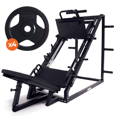 Force USA 45 Degree Leg Press & Rubber Coated Weight Plates Package