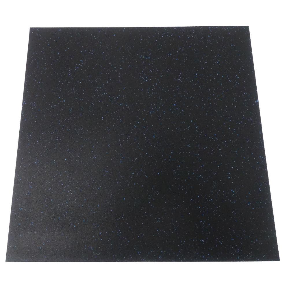 Home & Fitness Rubber Flooring Tile 1M x 1M x 15MM with 6% Blue Fleck