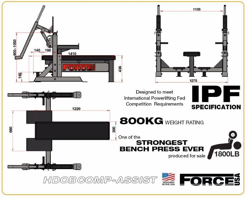Force USA Commercial Heavy Duty IPF Spec Olympic Bench Press with LeverLift Assist - Lasercut
