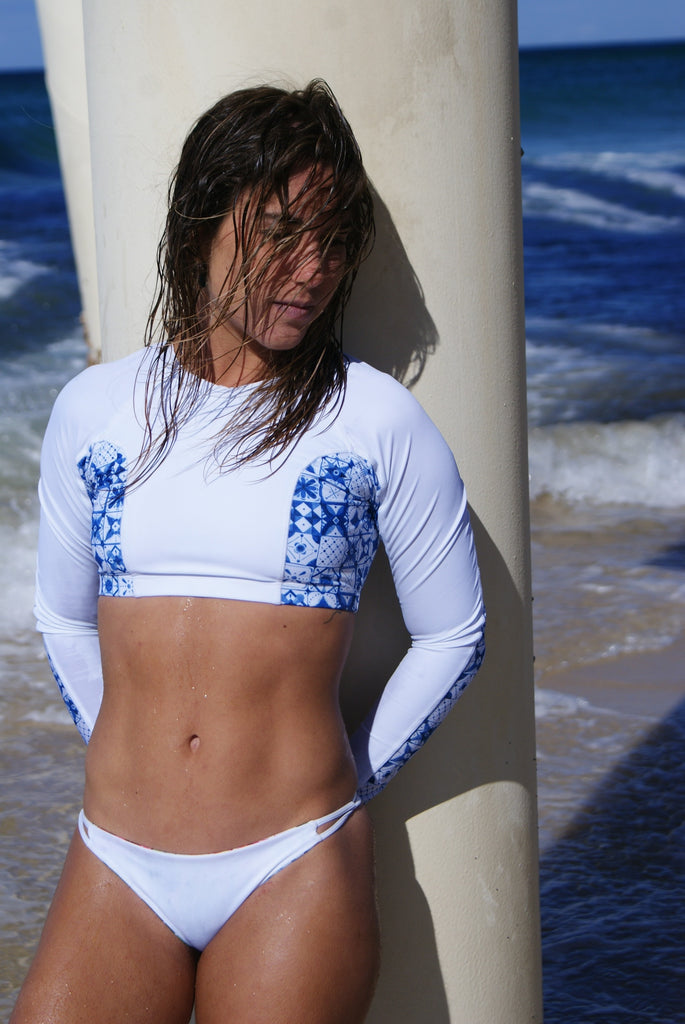 Blue Tiles Cropped Rash Vest