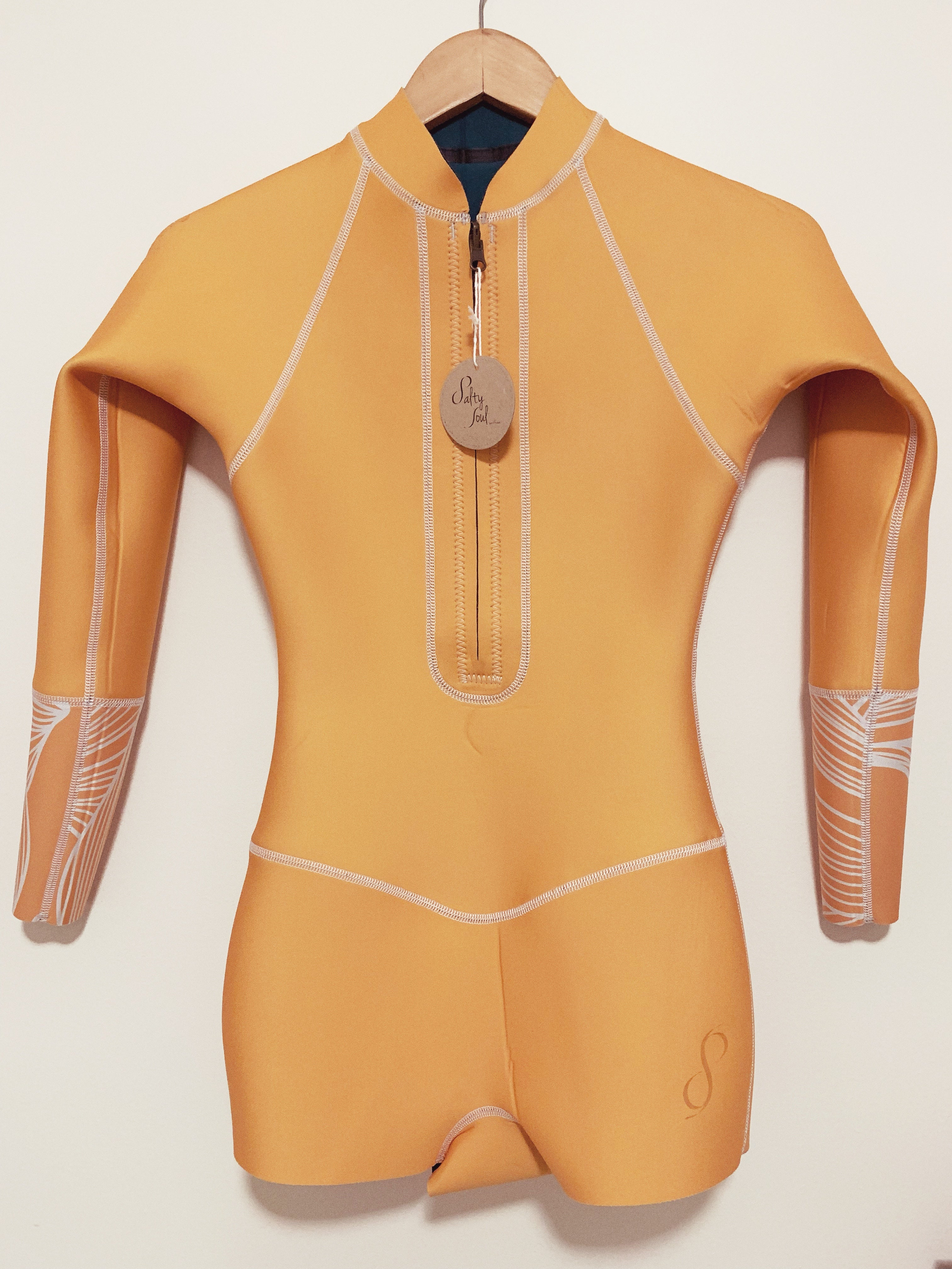 Long Sleeve Blue Whales/Mustard Reversible Surf Suit