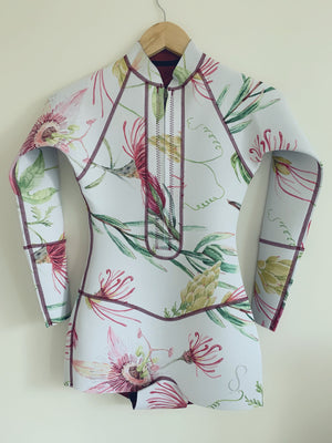 Long Sleeve Wild Flower/Shark Reversible Surf Suit