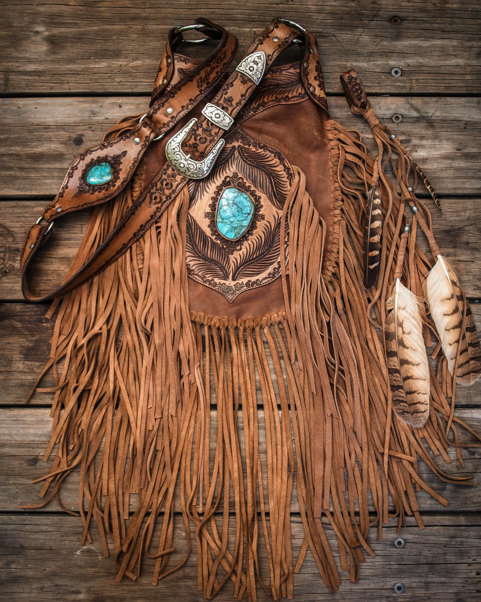 Apache Tasseled Bag with high grade Turquoise in distressed tan leather with suede tassels.