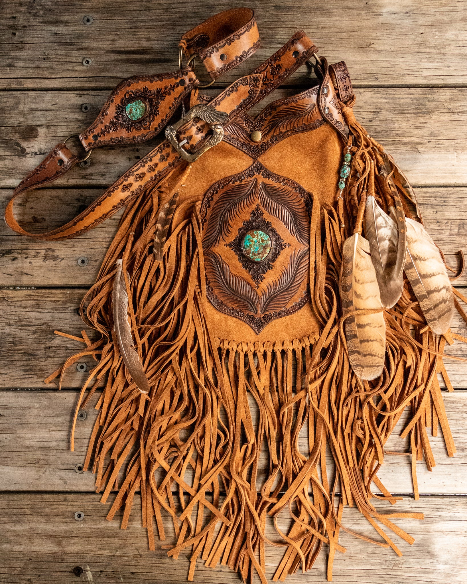 Apache Tasseled Bag with Royston Turquoise in rich tan suede - $2800