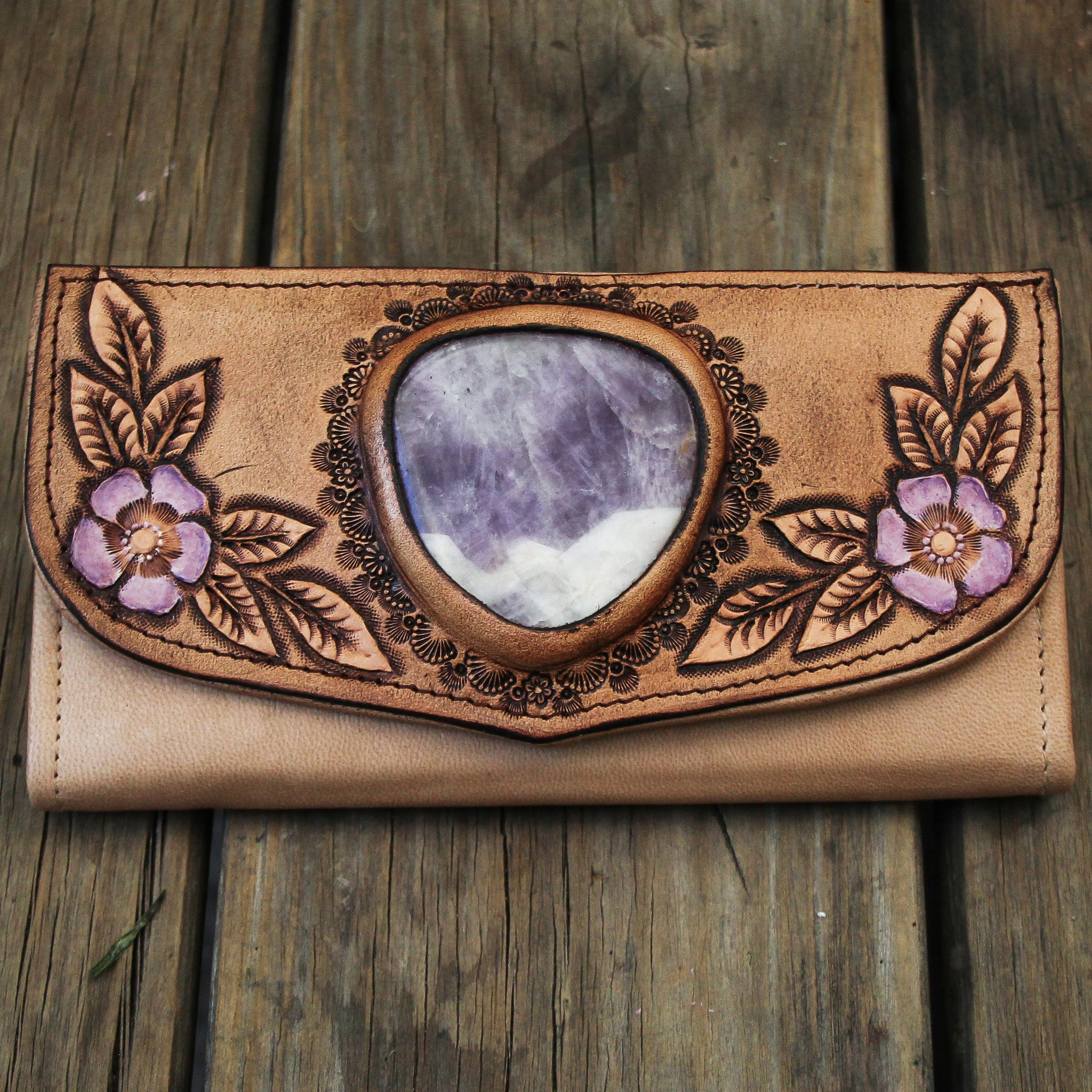 Hand painted Flower Wallet with Chevron Amethyst in soft cream.