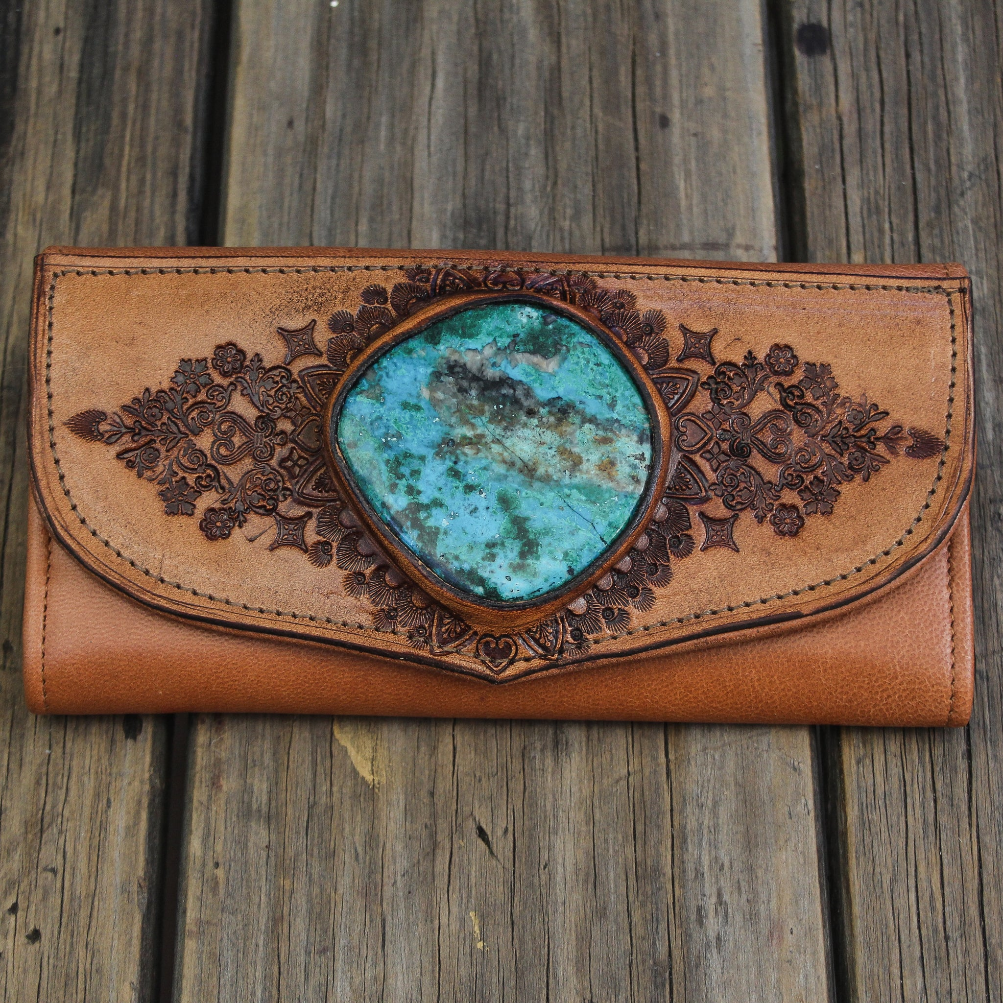 Mandala Wallet with large Chrysocolla.