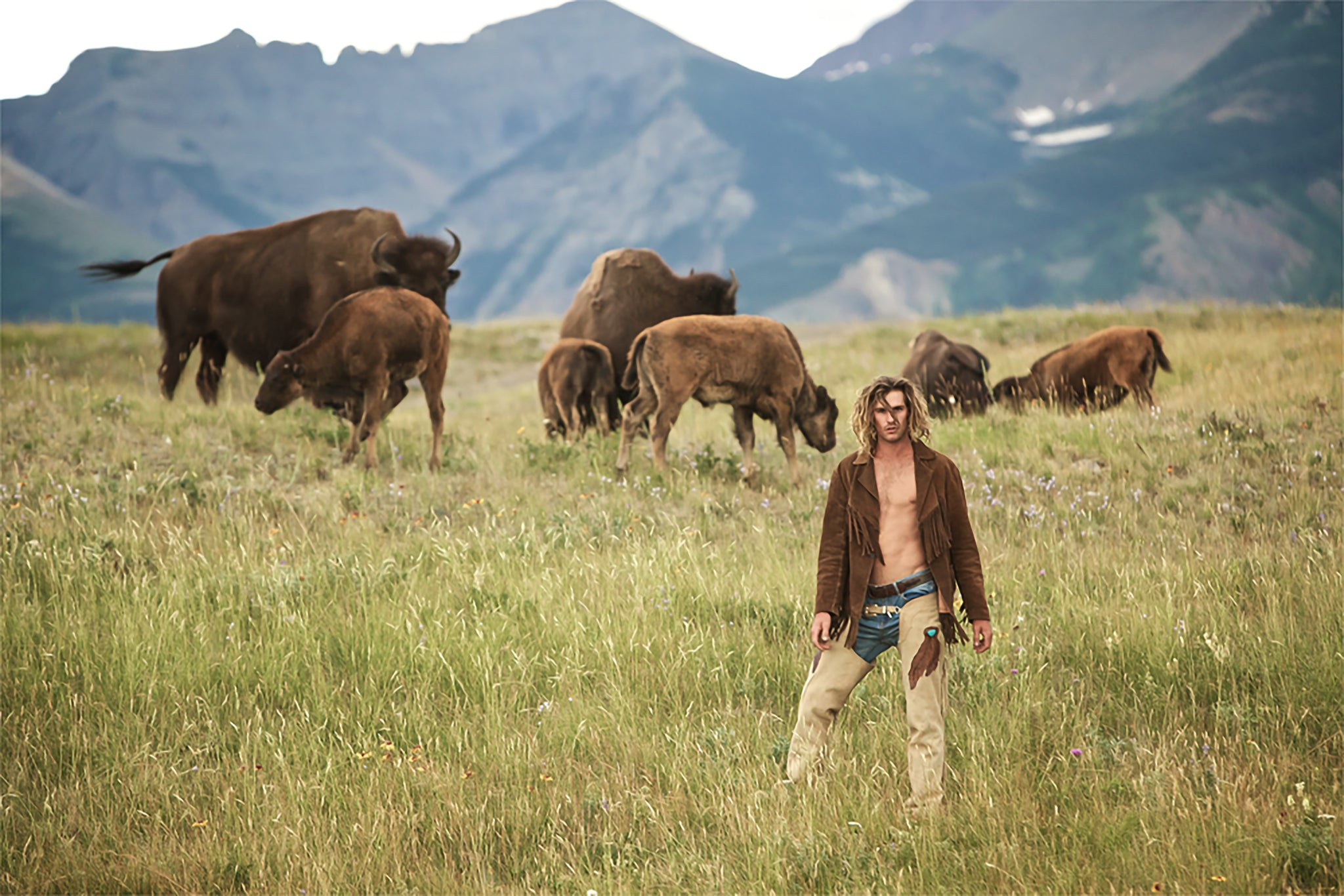 Man on the prairie among wild buffalo