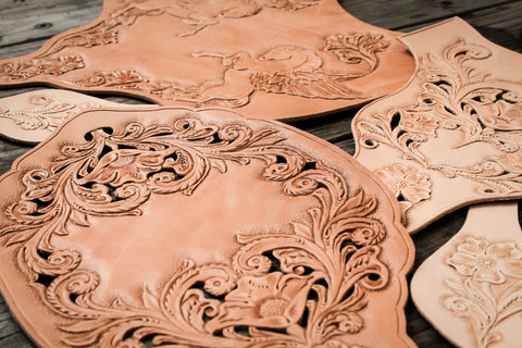 hand carved leather panels