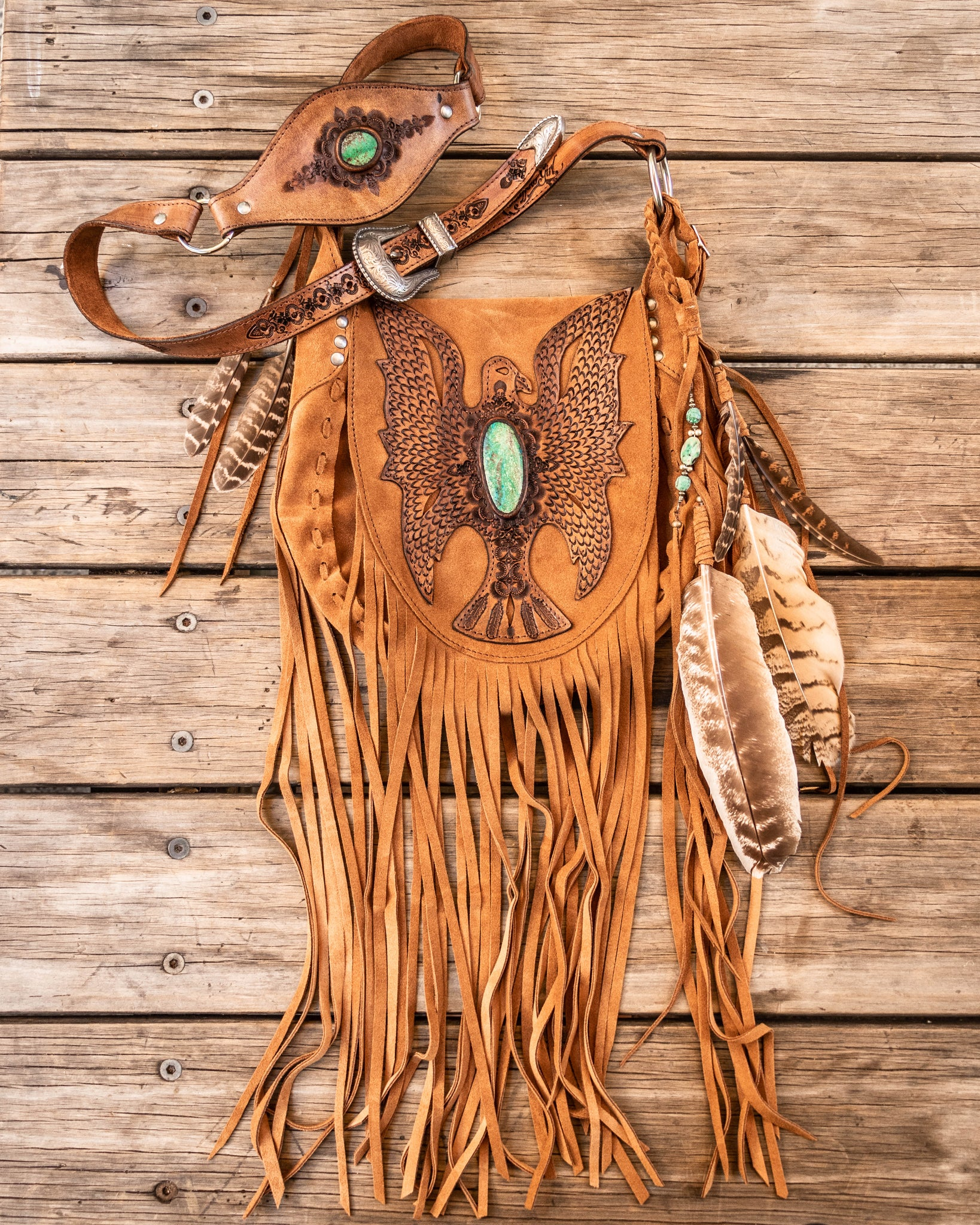 Cheyenne Eagle Bag with Chrysocolla stone in rich tan suede - $2000