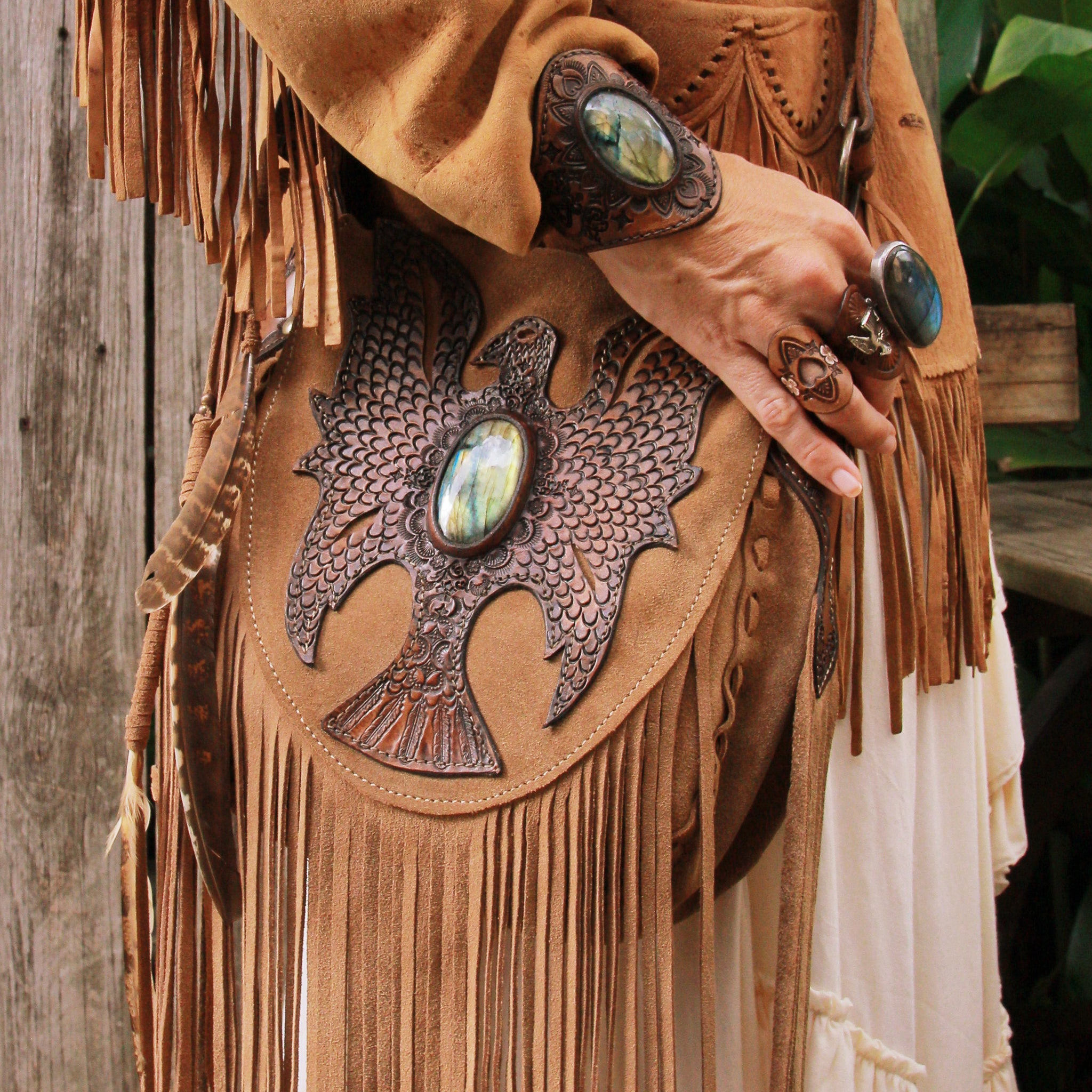 Cheyenne Eagle bag in tan suede with Labradorite - $2000