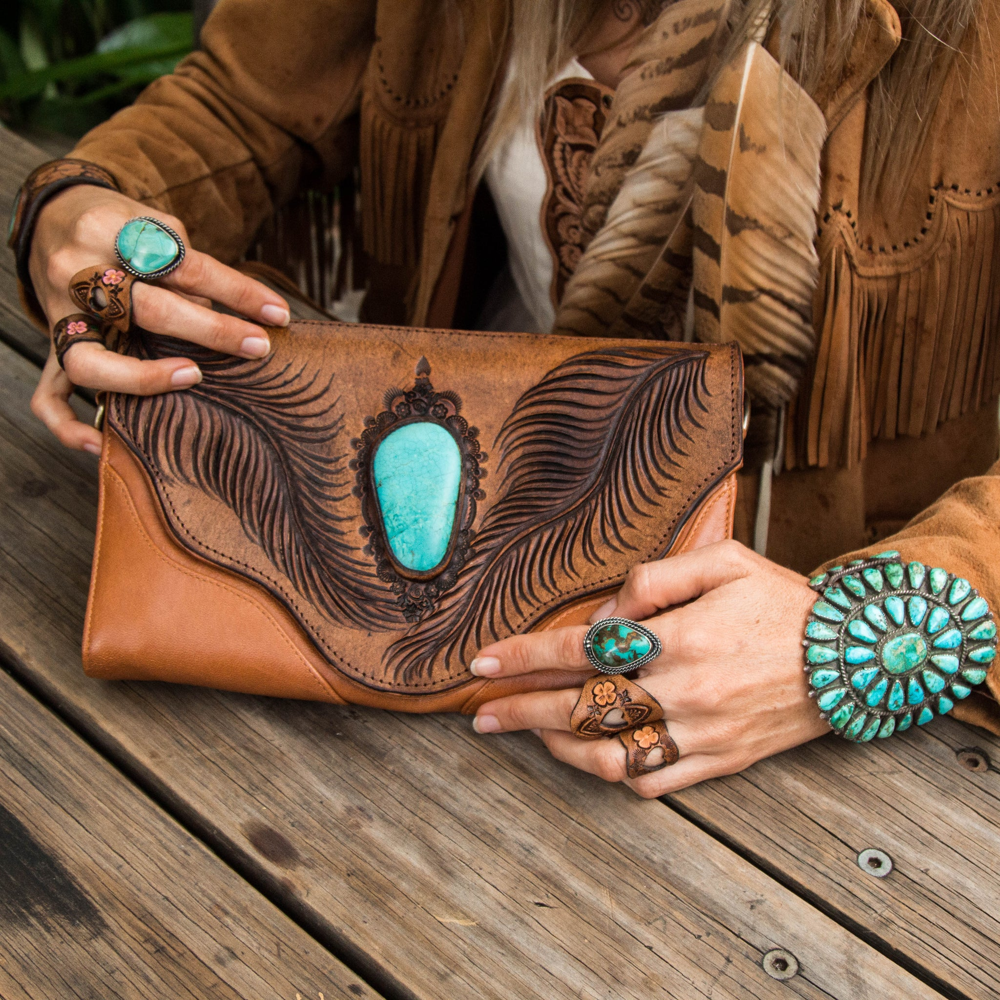 Whiskey River Clutch with Turquoise