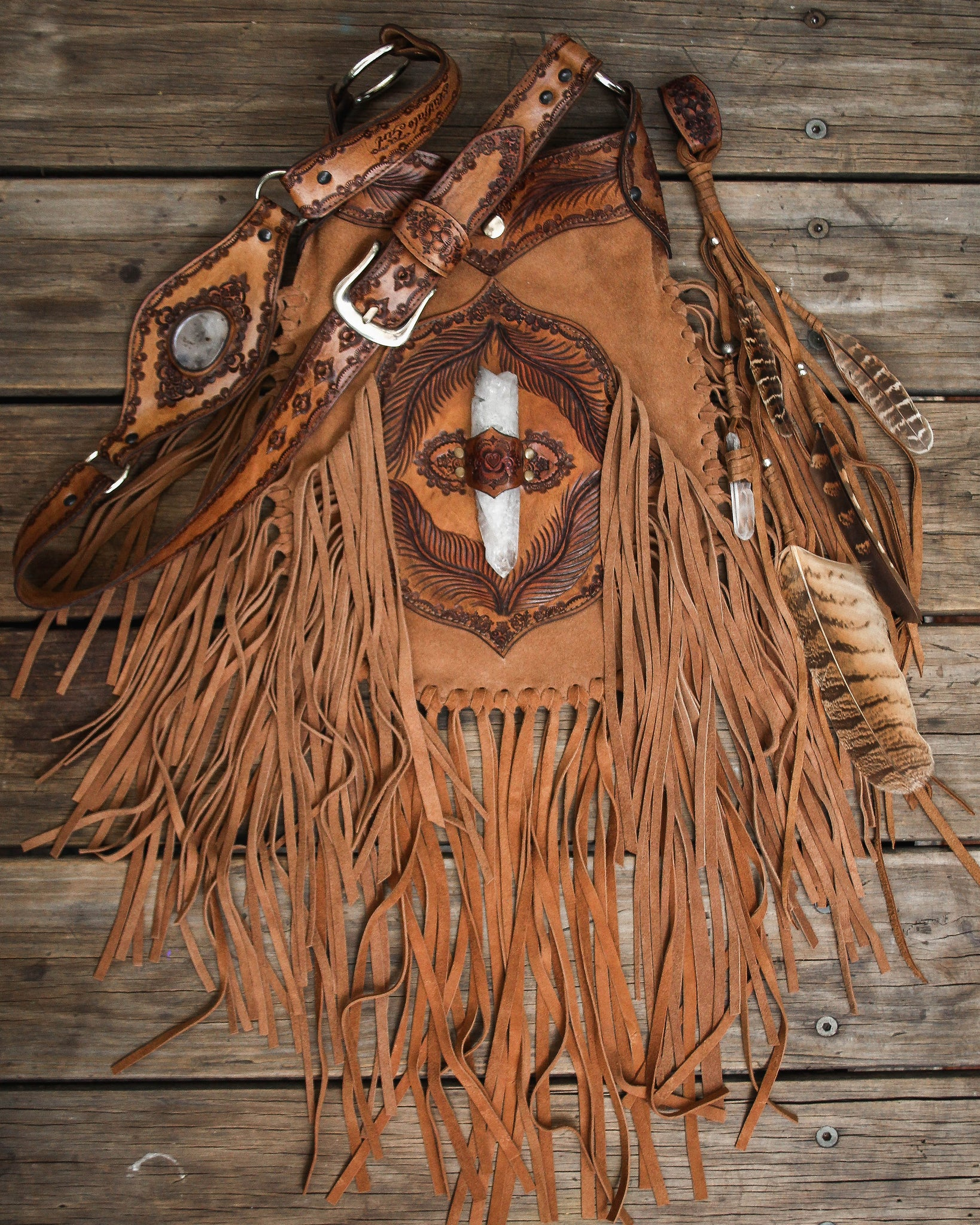 Apache Tasseled Bag with Quartz Crystal in tan suede.