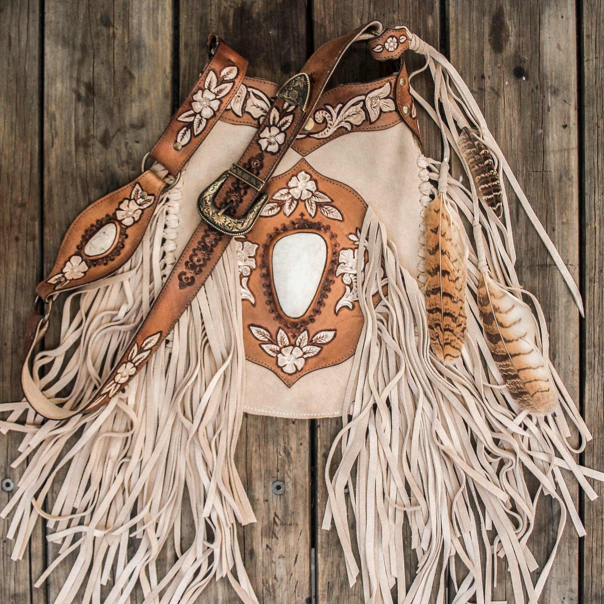 Hand painted Desert Angel Bag with Howlite in sand suede.