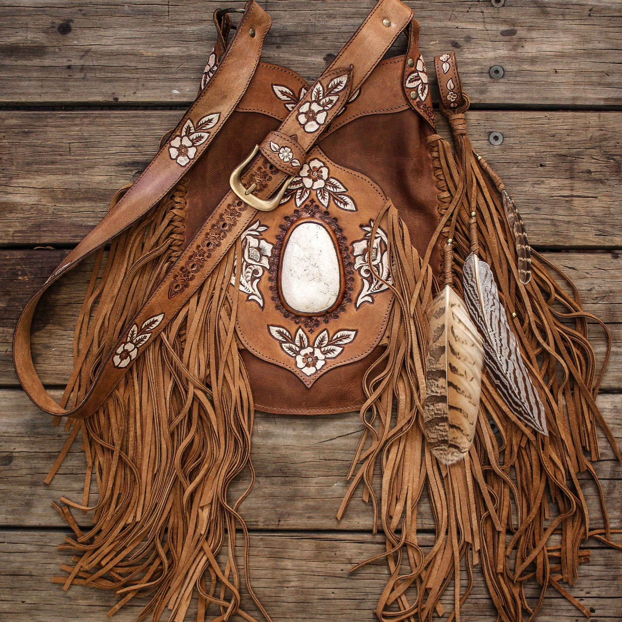 Hand painted Desert Angel Bag with Howlite in distressed tan leather.