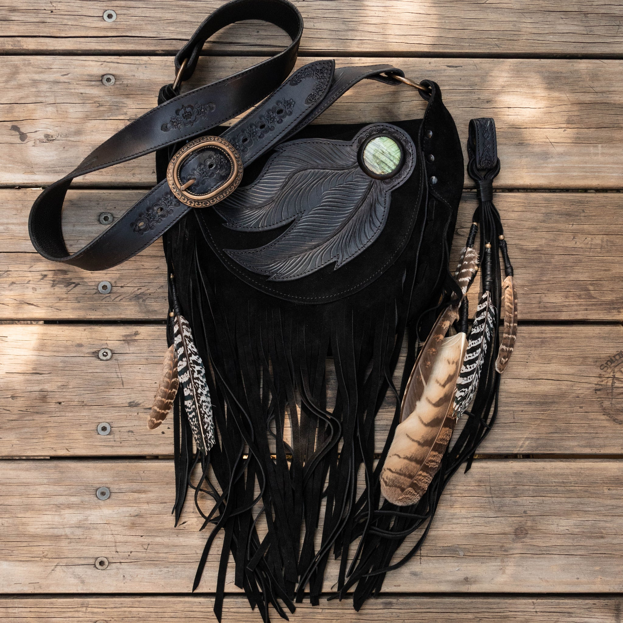 Dreamcatcher Festival Bag in charcoal black suede with Labradorite stone inlay topped off with a vintage brass buckle - $1500