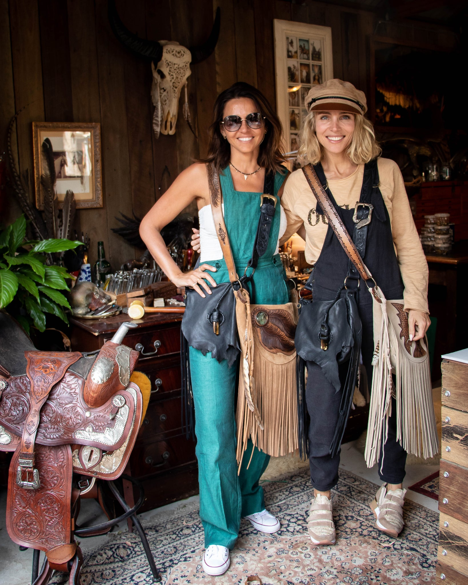 Elsa Pataky & Luciana Barroso at the Buffalo Girl studio wearing custom made bags