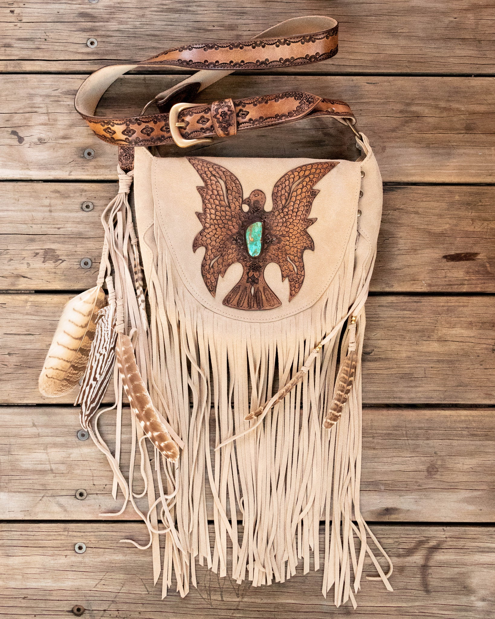 Eagle Festival Bag in sand suede featuring Royston Turquoise