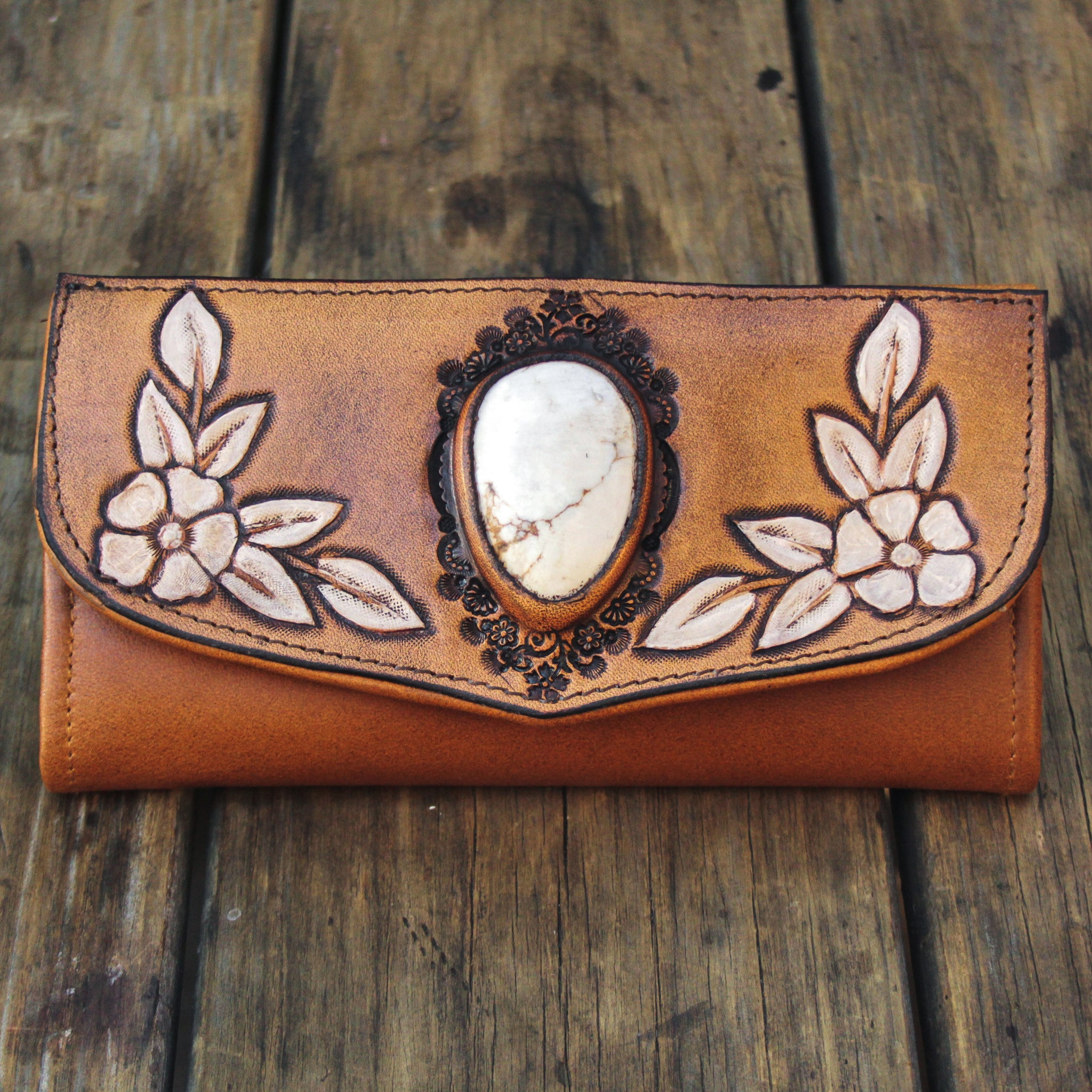 Hand painted Flower Wallet with Howlite