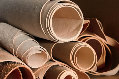 rolls of vegetable tan leather