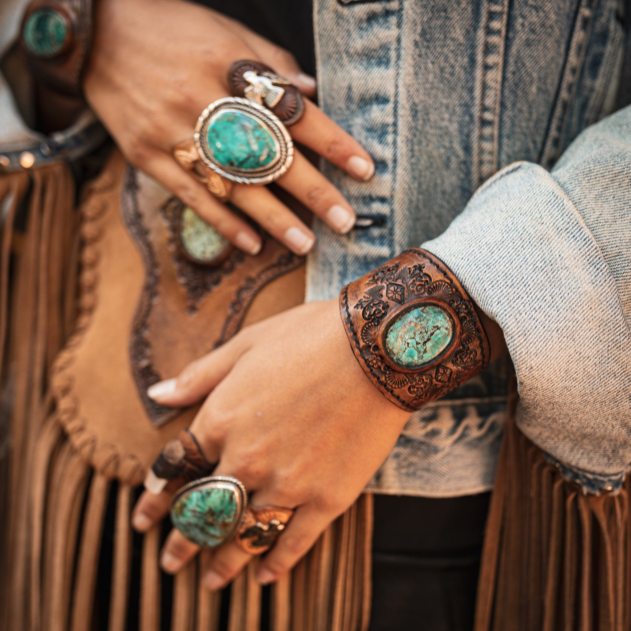 Turquoise and leather accessories