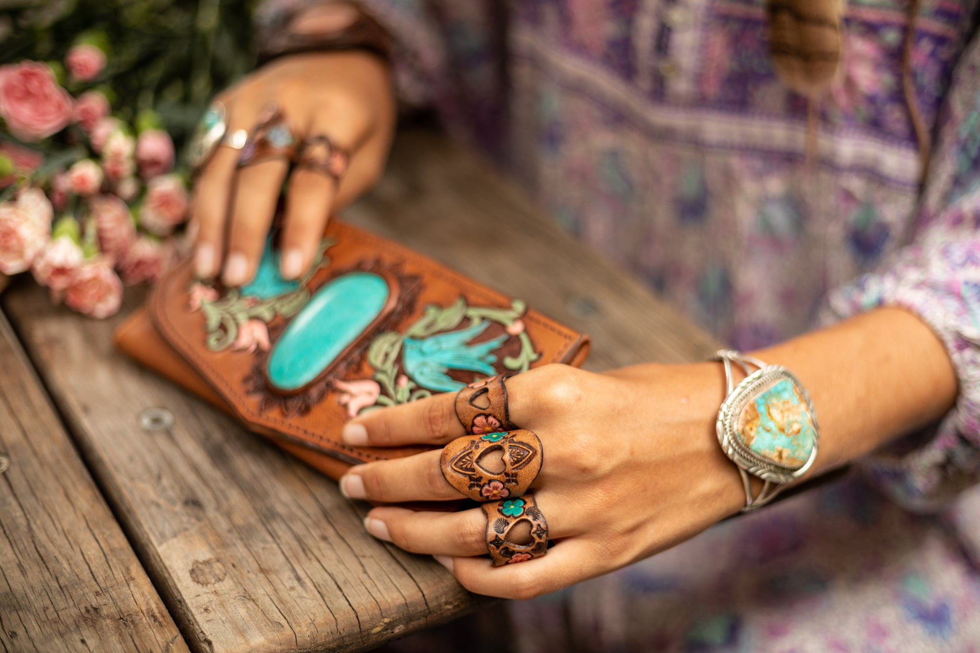 Hand painted leather rings and Turquoise jewellery