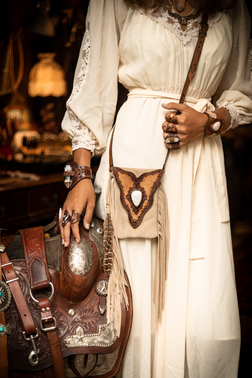 Gypsy Wanderer Phone Pouch in cream suede topped off with a white Howlite stone inlay - $480
