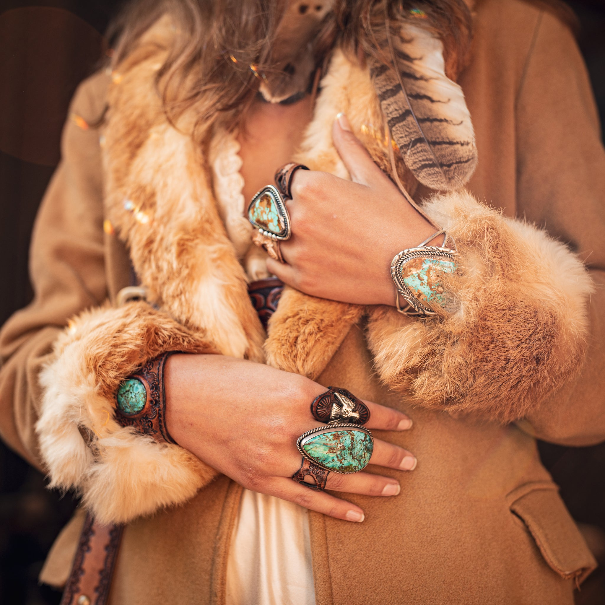 Buffalo Girl turquoise and leather jewellery