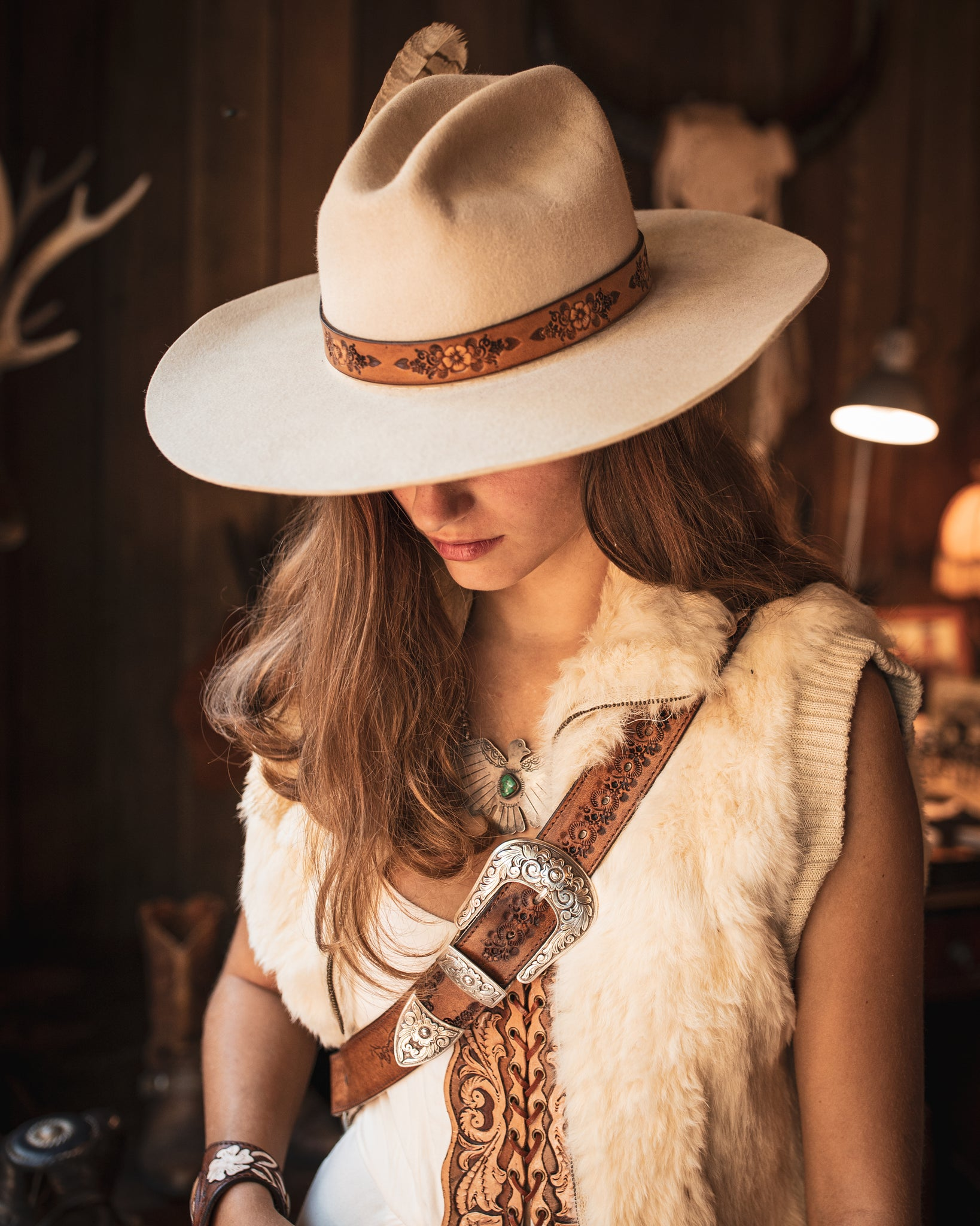 Buffalo Girl hand tooled hat band