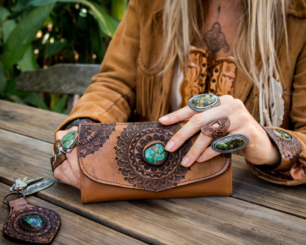 Hand tooled leather Mandala wallet with Chrysocolla stone & matching Buffalo Girl accessories