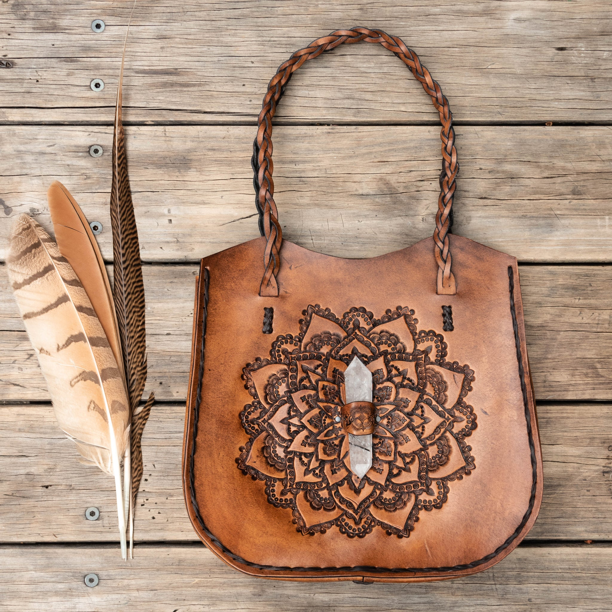 Hand tooled vegetable tan leather Megastar Mandala Tote Bag with Quartz Crystal - $2200