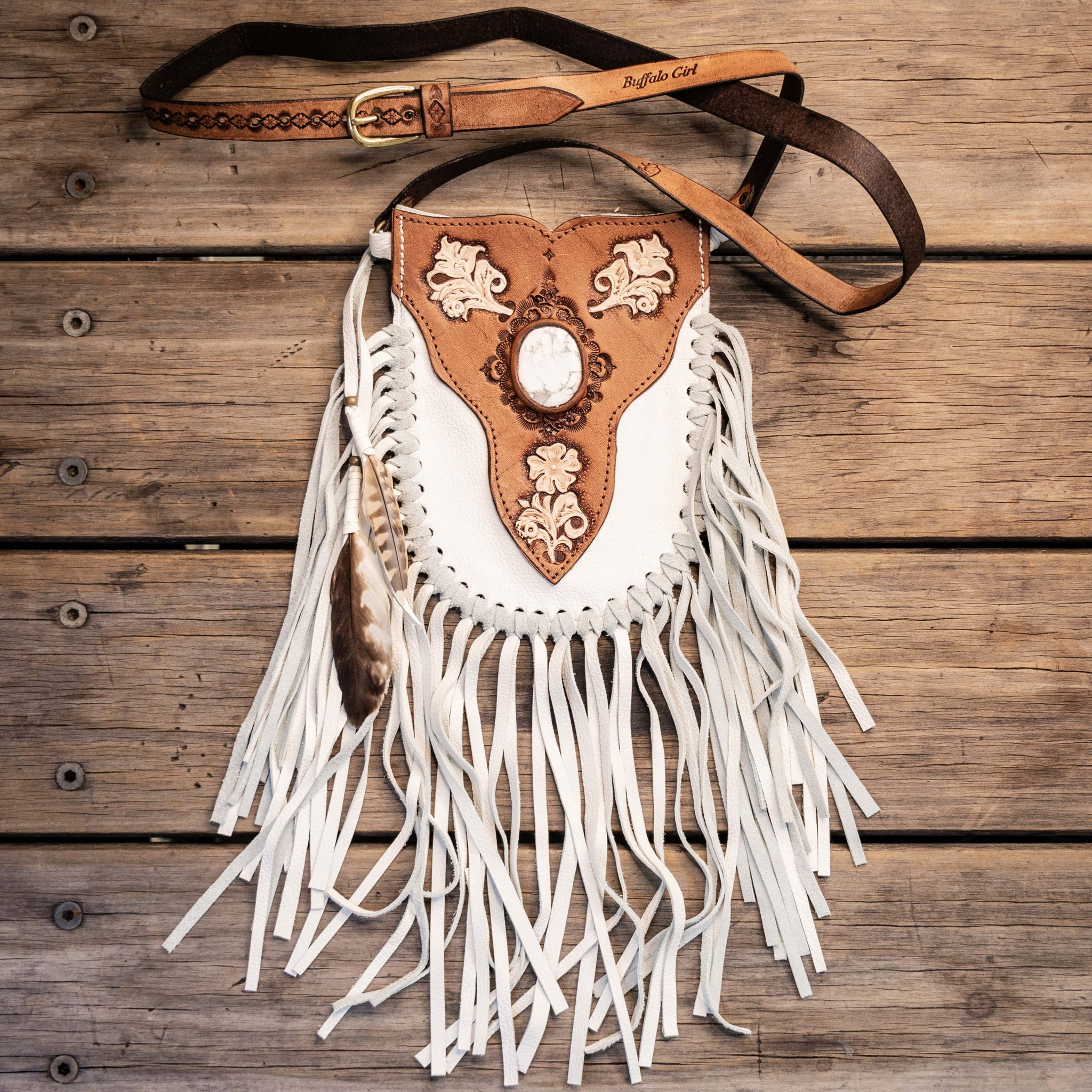 Prairie Phone Pouch in white leather with hand painted flowers and a Howlite stone inlay - $480