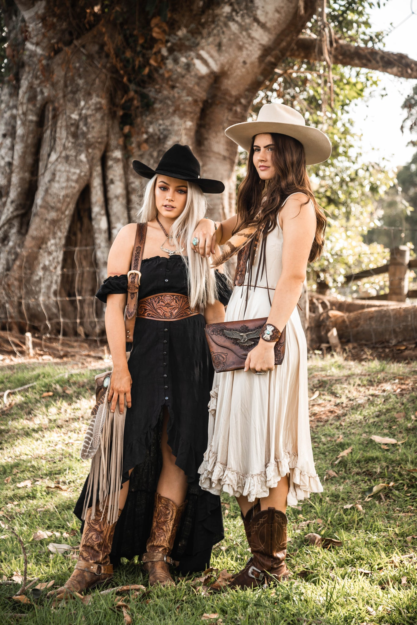 Cool girls wearing boho style leather accessories