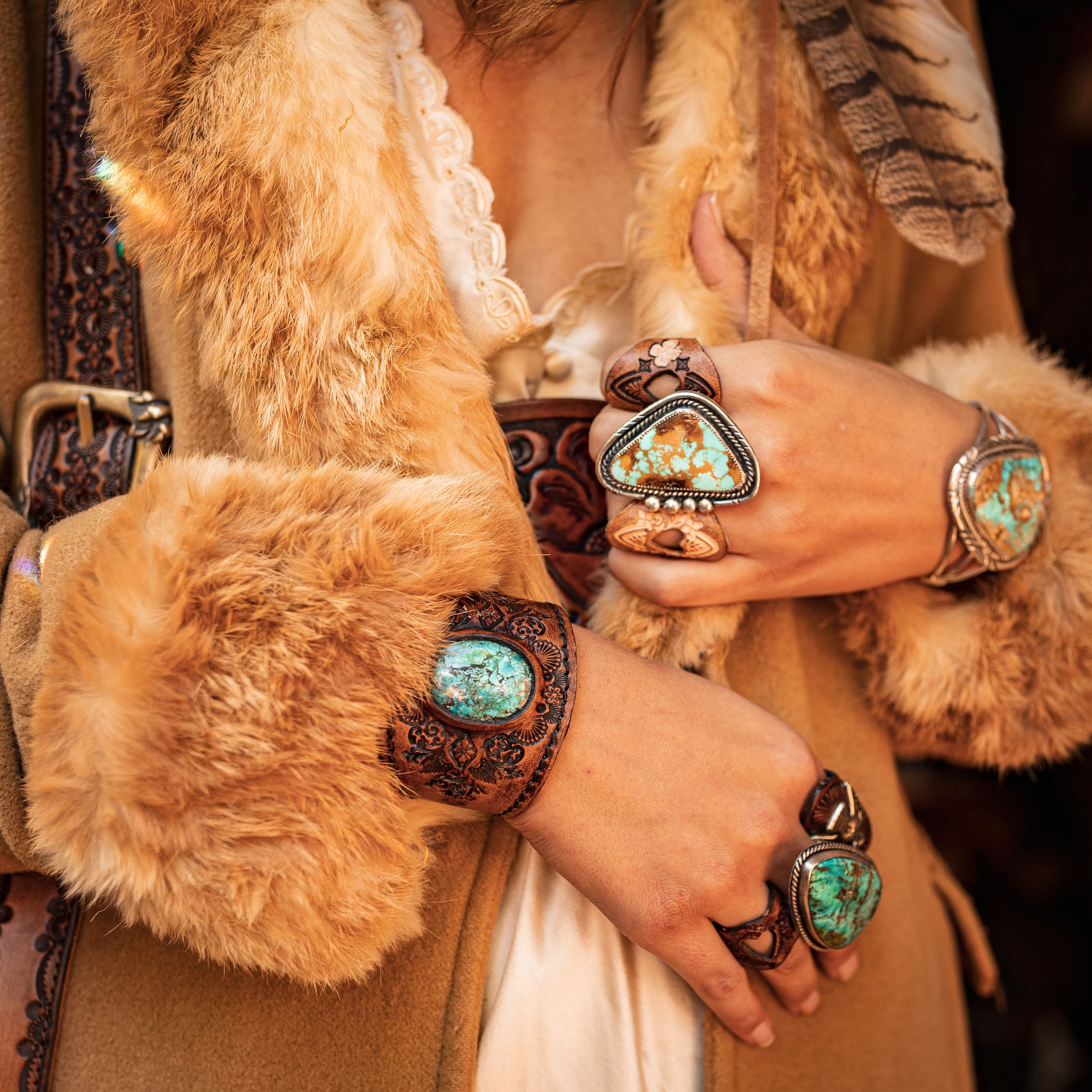 Turquoise and leather jewellery by Buffalo Girl