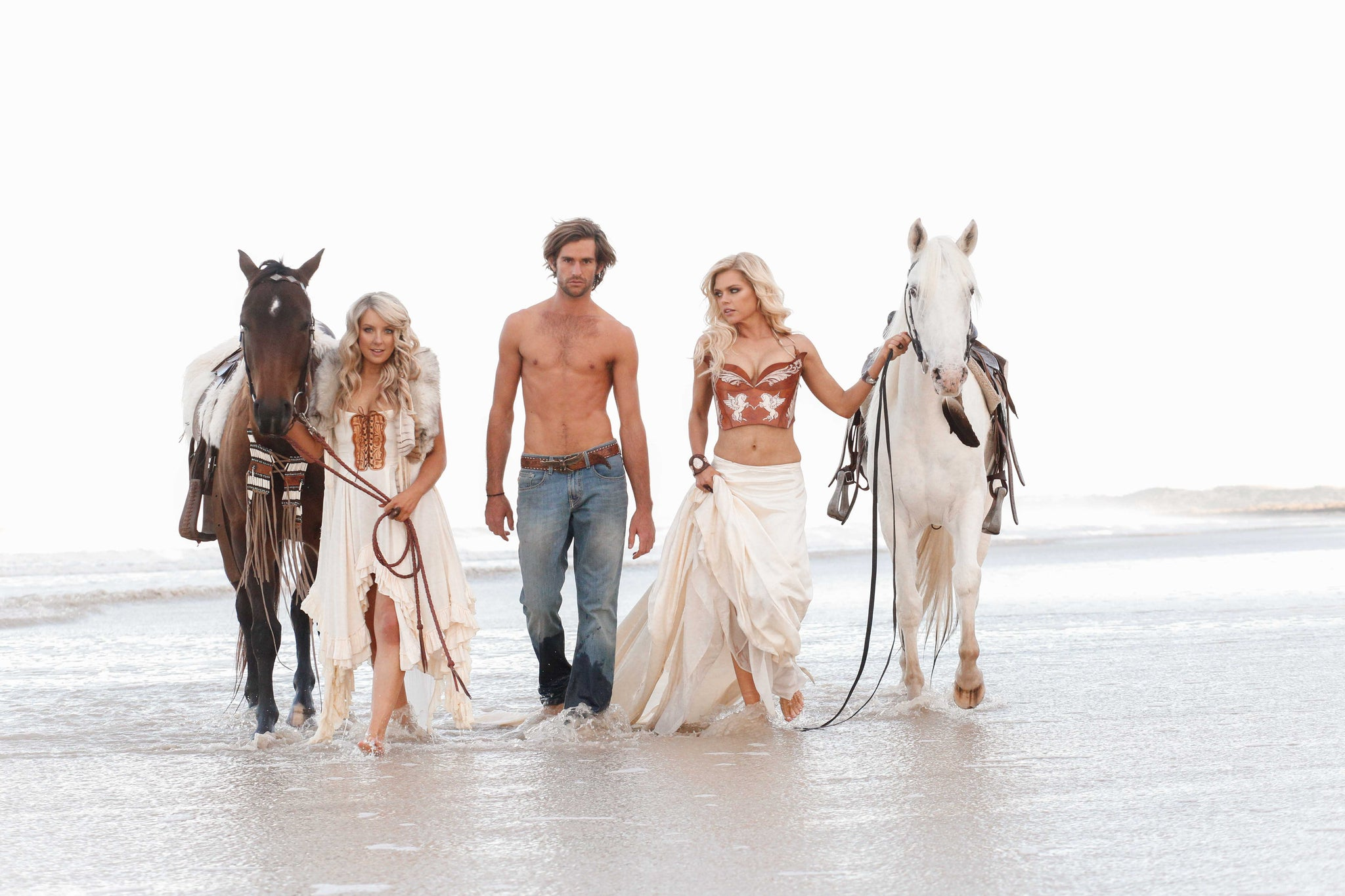 Sophie Monk beach photoshoot with horses