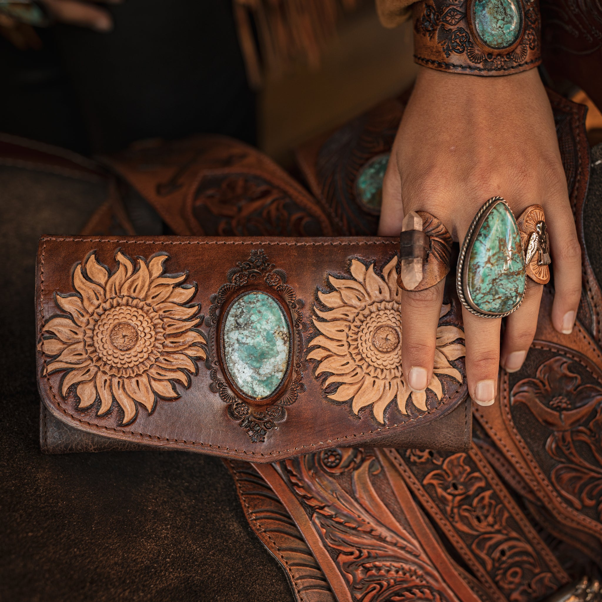 Sunflower wallet with Turquoise stone