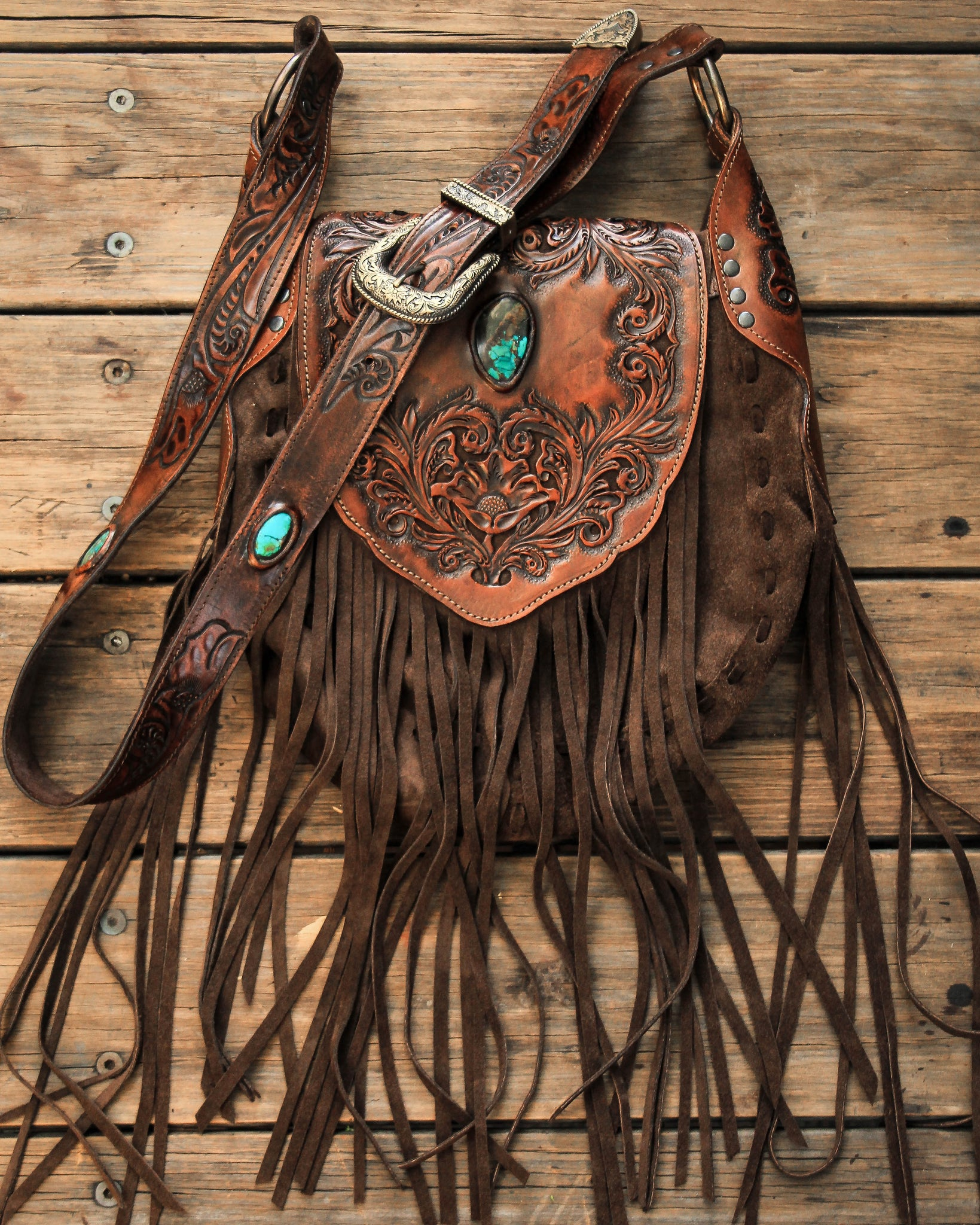 Western Floral Saddle Bag with high grade Turquoise
