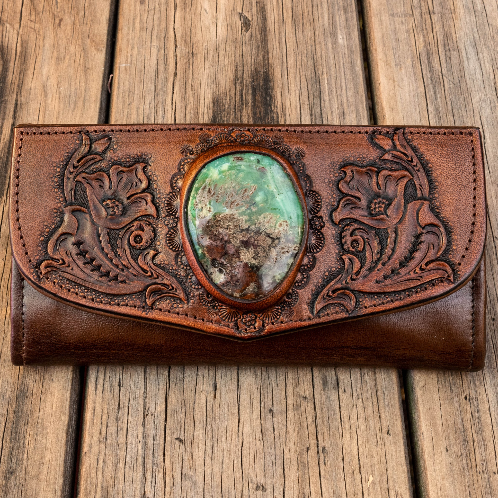 Western Floral wallet with Chrysoprase in chocolate brown leather