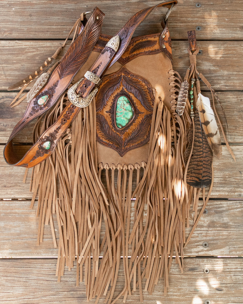 Apache Tasseled Bag with Crescent Lake Turquoise