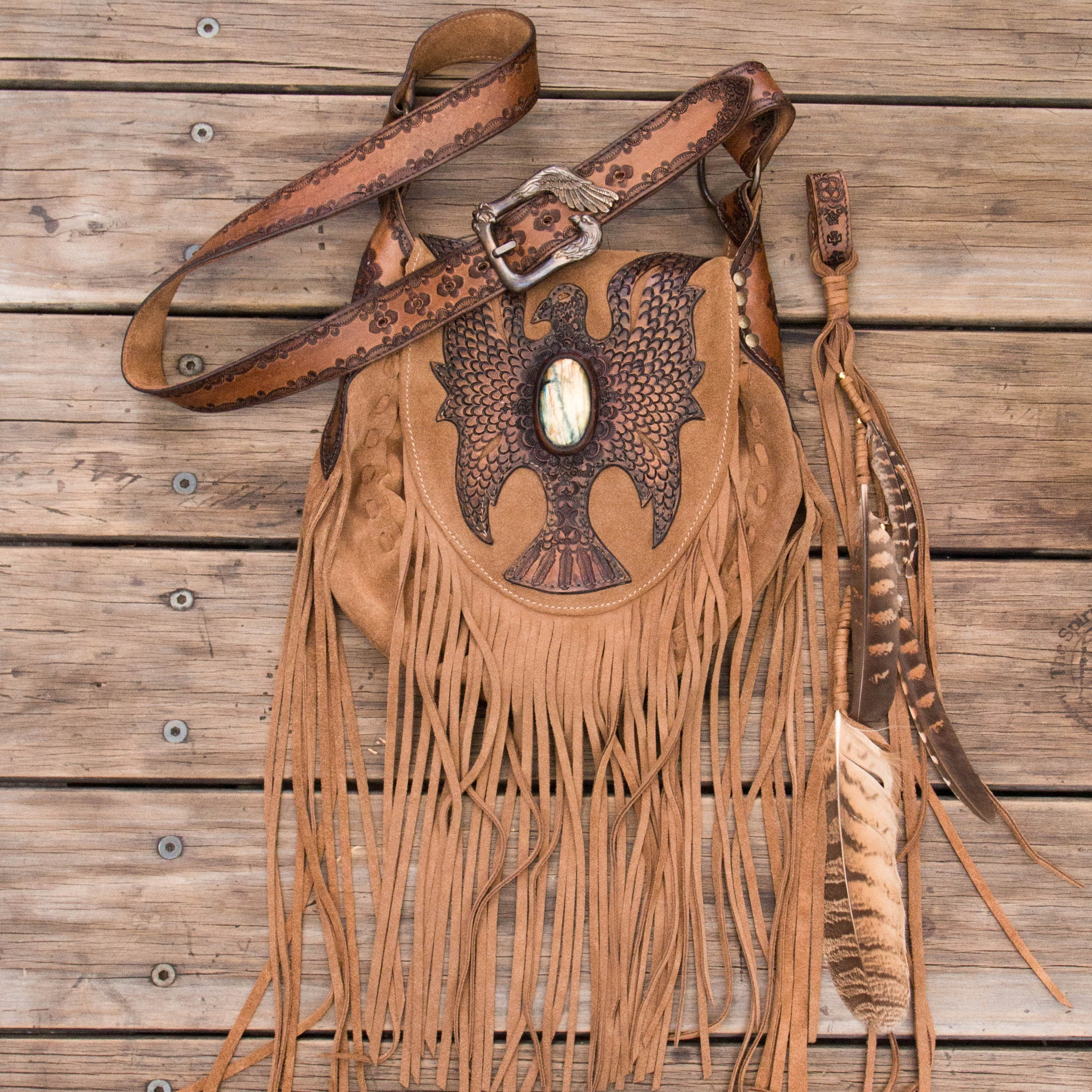 Cheyenne Eagle Bag with Labradorite in tan suede.